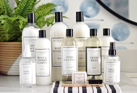 the laundress laundry collection on striped cloth